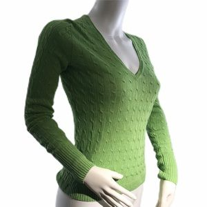 J Crew Lime Green V Neck Linen Cable Knit Sweater